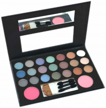 Eyeshadow-Set 21 Lidschatten + 2 Rouge + Spiegel + Pinsel im Hardcover